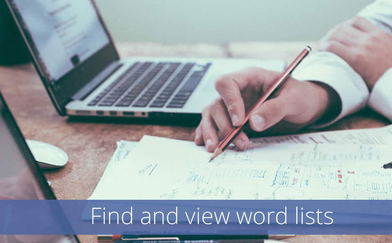 Find and view word lists