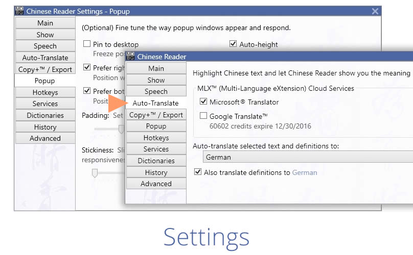 Adjust auto-translate settings