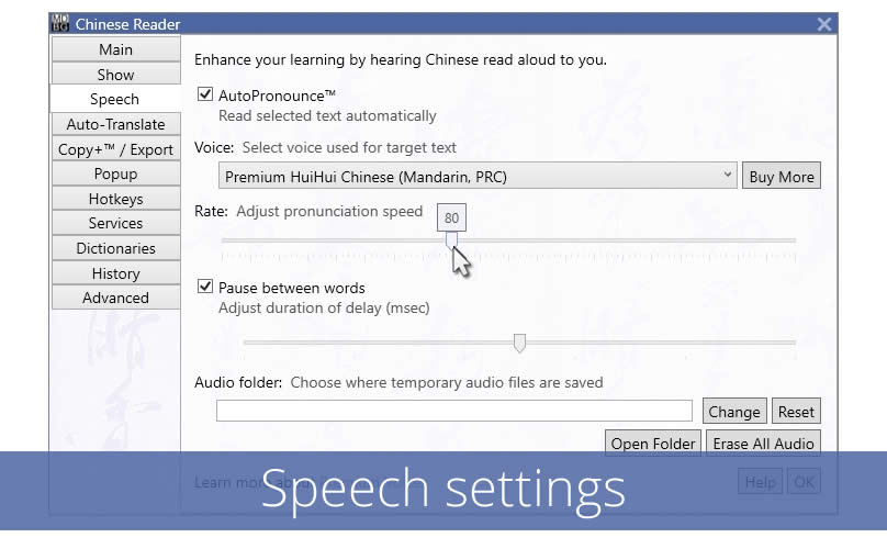 Adjust speech settings